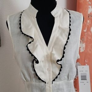Sunny Leigh Tops - White linen sleeveless top w/black piping size M